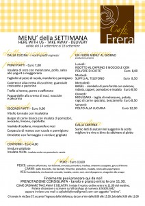 Menù Take Away DeliveryCUCINA 14-18 settembre